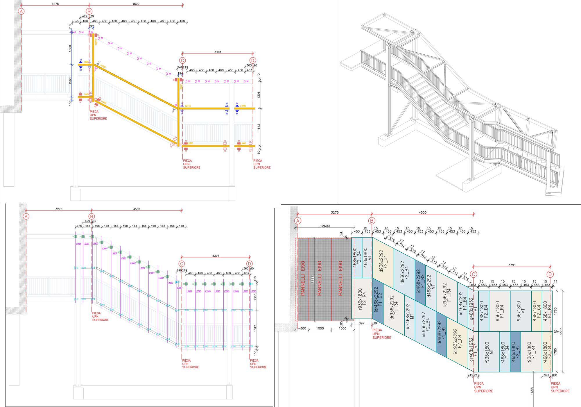 Treppenhaus technische zeichnung  Krankenhaus San Gerardo - Aliva Facade Systems